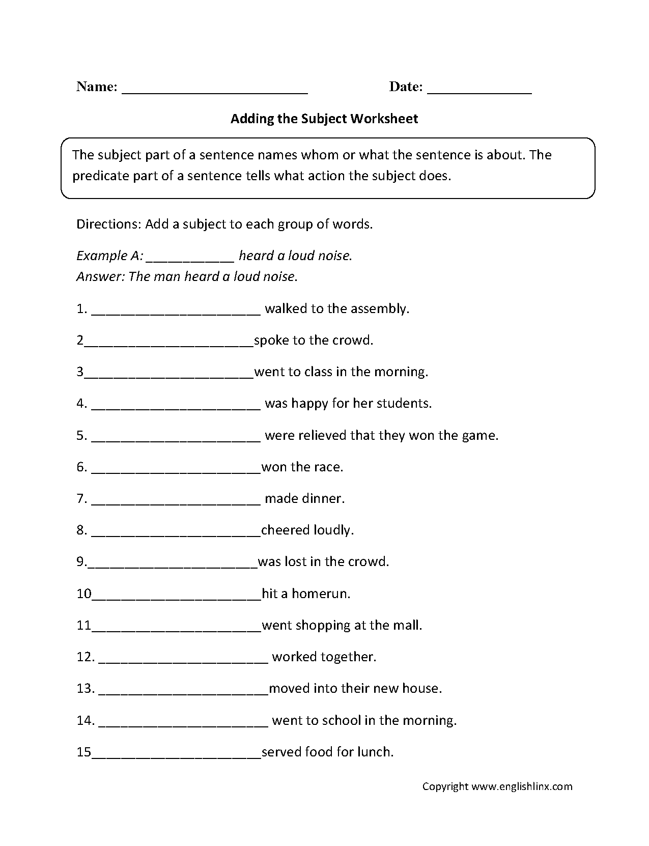 Worksheets Subject Predicate Worksheets 3rd Grade englishlinx com subject and predicate worksheets adding a worksheet