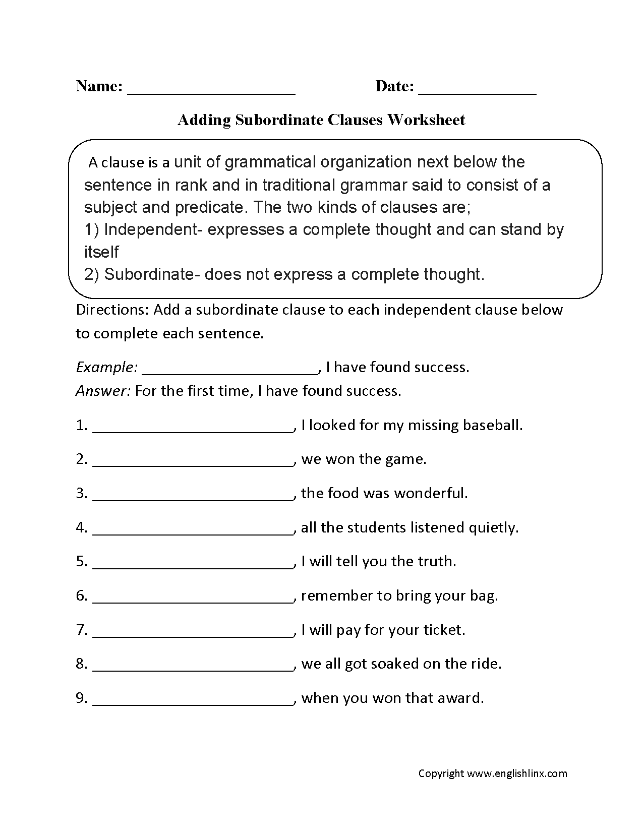 Clauses Worksheets – Subordinate Clauses Worksheet