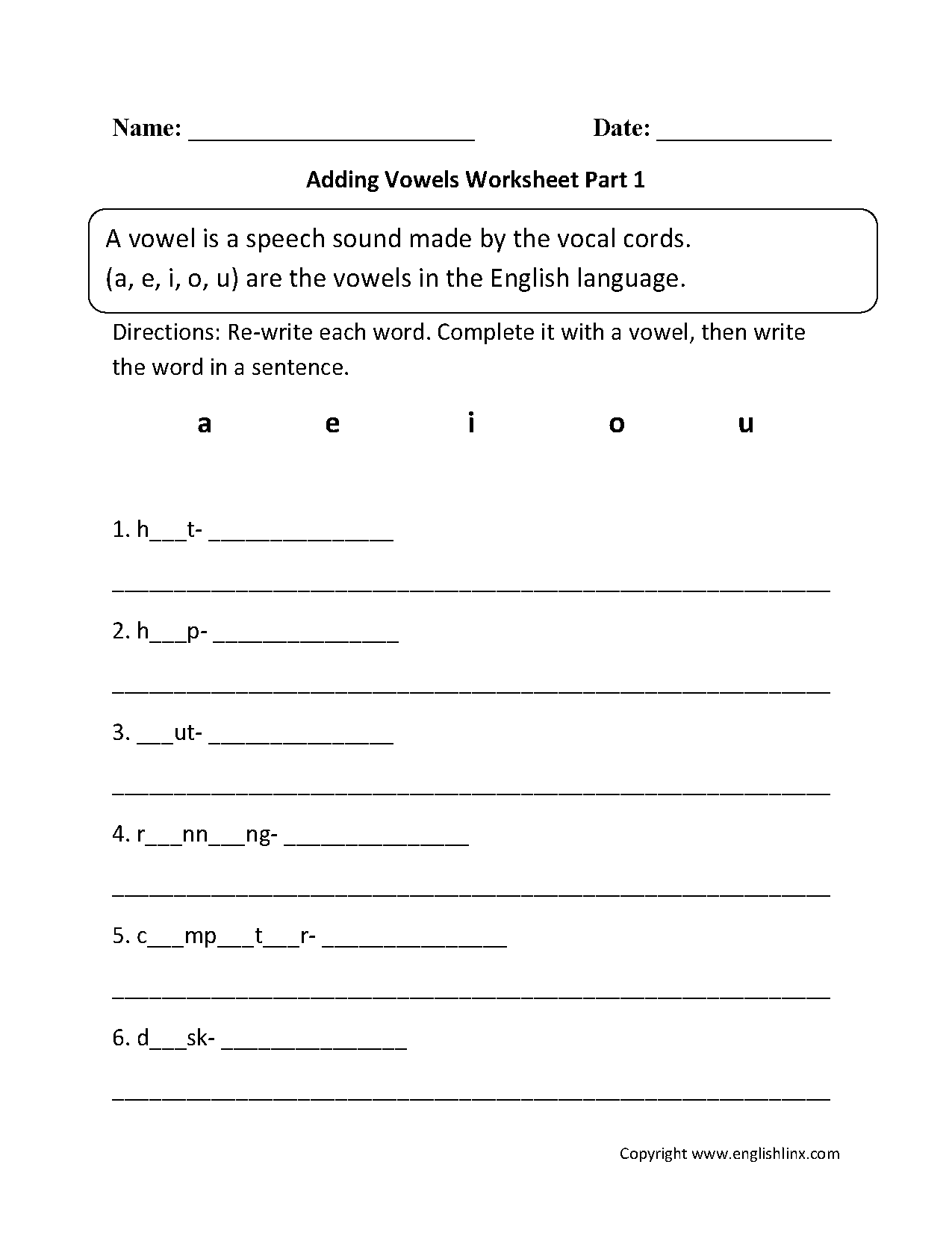 Adding Vowels Worksheet Part 1