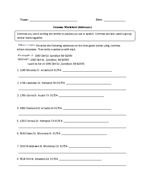 Englishlinx Commas Worksheets