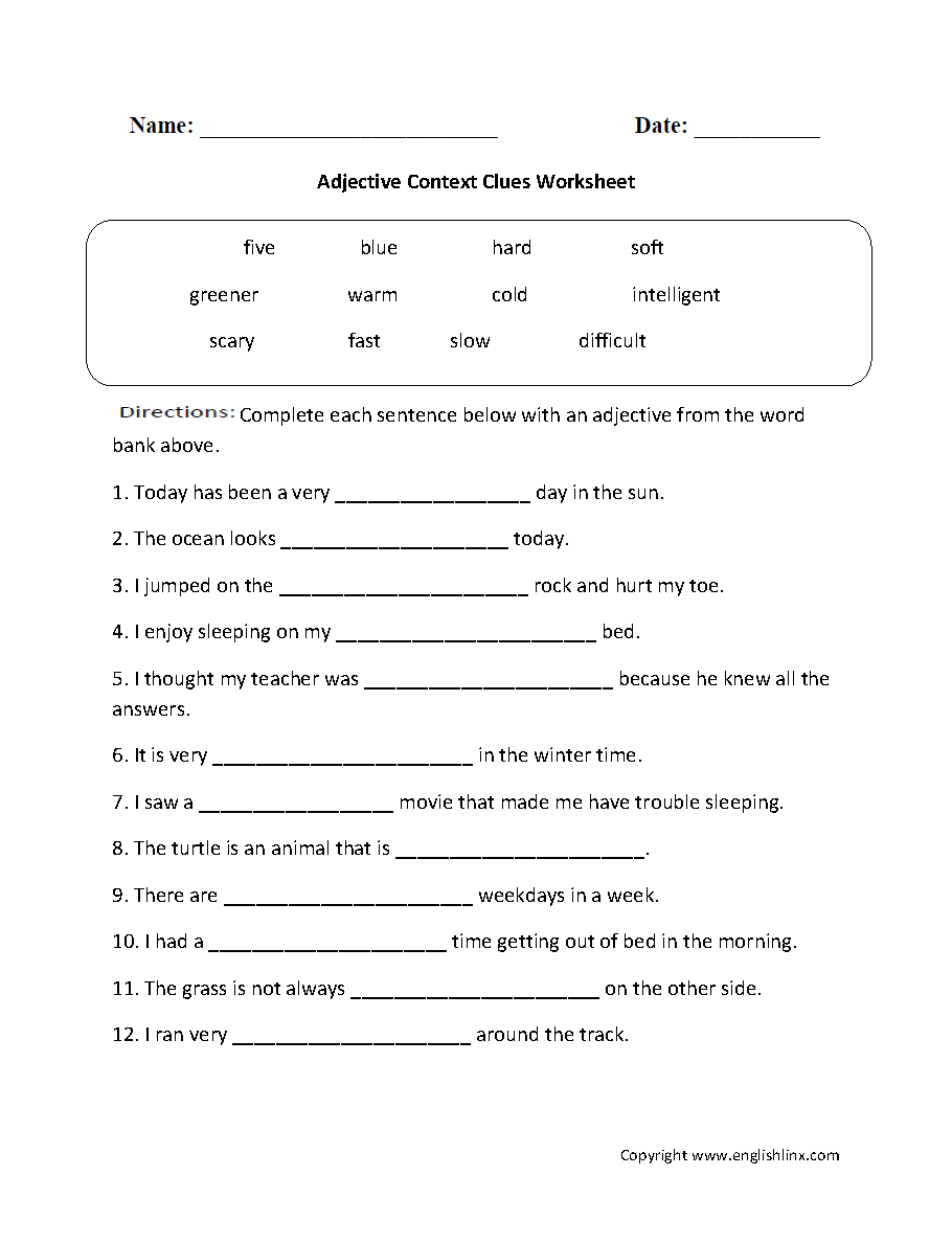 Context clues worksheets 4th grade free