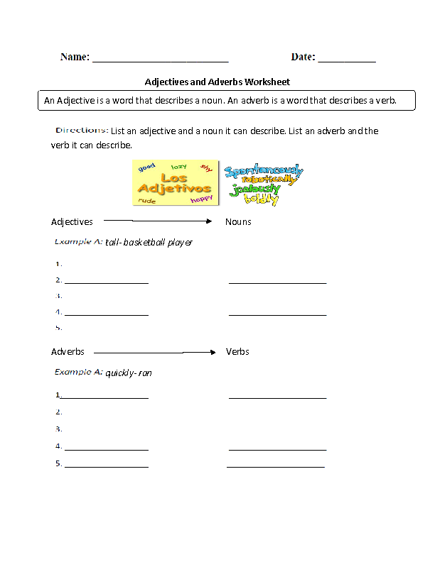 Adjectives Worksheets Or Adverbs. Adjectives And Adverbs Worksheet. Worksheet. Adjective And Adverb Worksheet At Clickcart.co