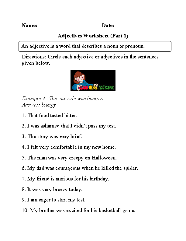 Printable Worksheets halloween adjectives worksheets : Regular Adjectives Worksheets | Circling Adjectives Worksheet Part 1