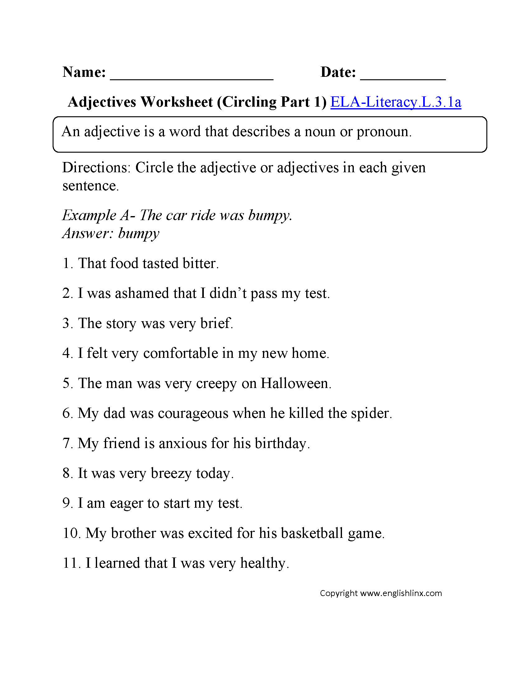 Worksheet Adjectives Worksheet For 3rd Grade 3rd grade common core language worksheets adjectives worksheet 1 ela literacy l 3 1a worksheet