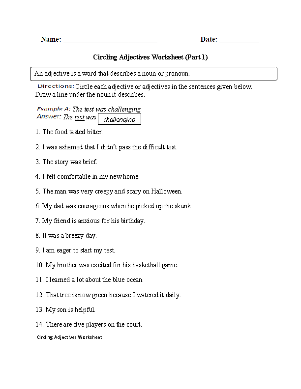 Adjectives Worksheets Regular. Adjectives Worksheet Part 1. Worksheet. 2nd Grade Adjective Worksheets At Clickcart.co