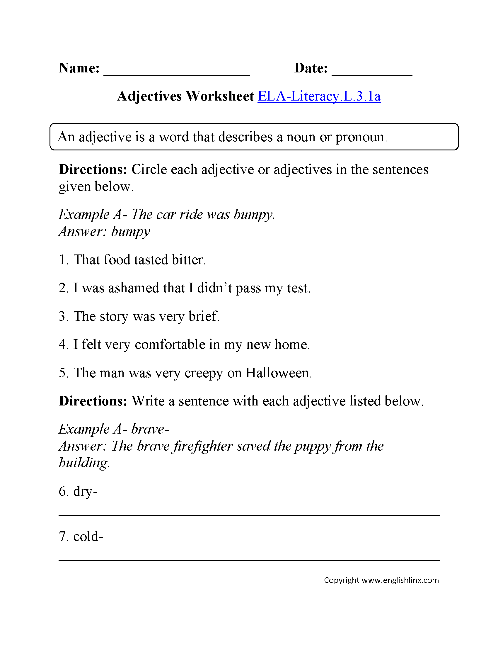 worksheet Common Core Writing Worksheets 3rd grade common core language worksheets adjectives worksheet 2 ela literacy l 3 1a worksheet