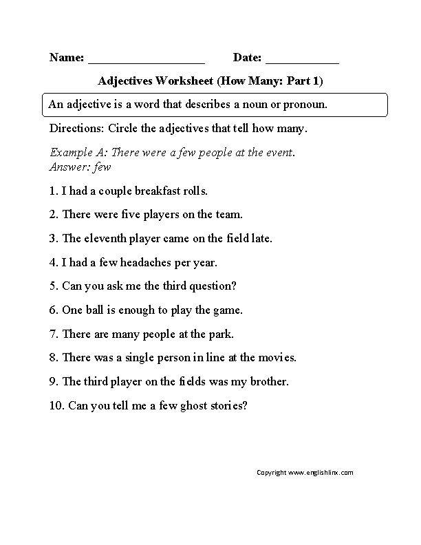Types Of Adjectives Worksheets Worksheets for all | Download and ...