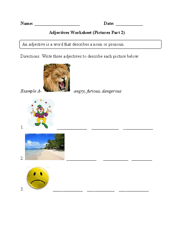Pictures Adjectives Worksheet Part 2