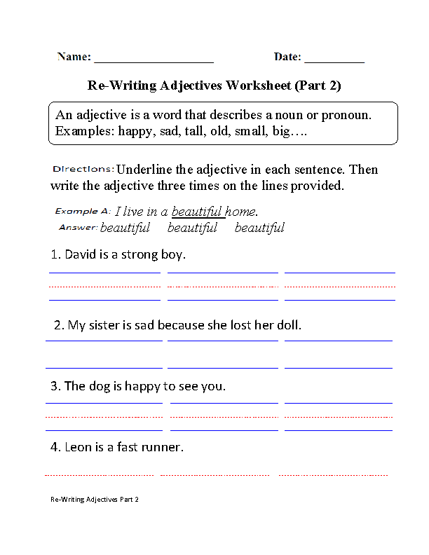 Adjectives Worksheets Regular. Adjectives Worksheet Part 2. Worksheet. 2nd Grade Adjective Worksheets At Clickcart.co