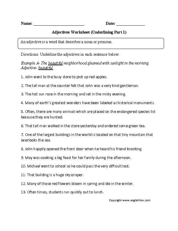 Regular Adjectives Worksheets : Underlining Adjective ...