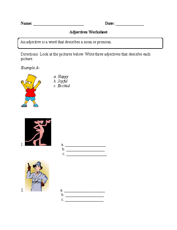 NEW 663 KINDERGARTEN ADJECTIVES WORKSHEET | kindergarten worksheet