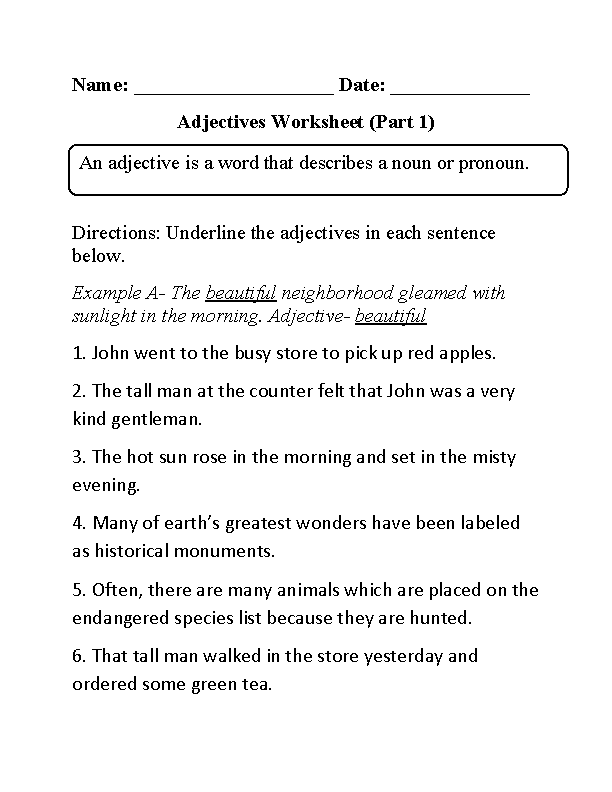 Regular Adjectives Worksheets | Underlining Adjectives Worksheet