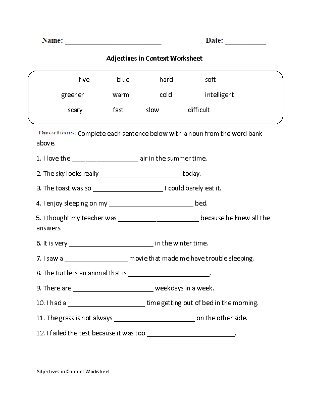 Regular Adjectives Worksheets | Adjectives in Context Worksheet