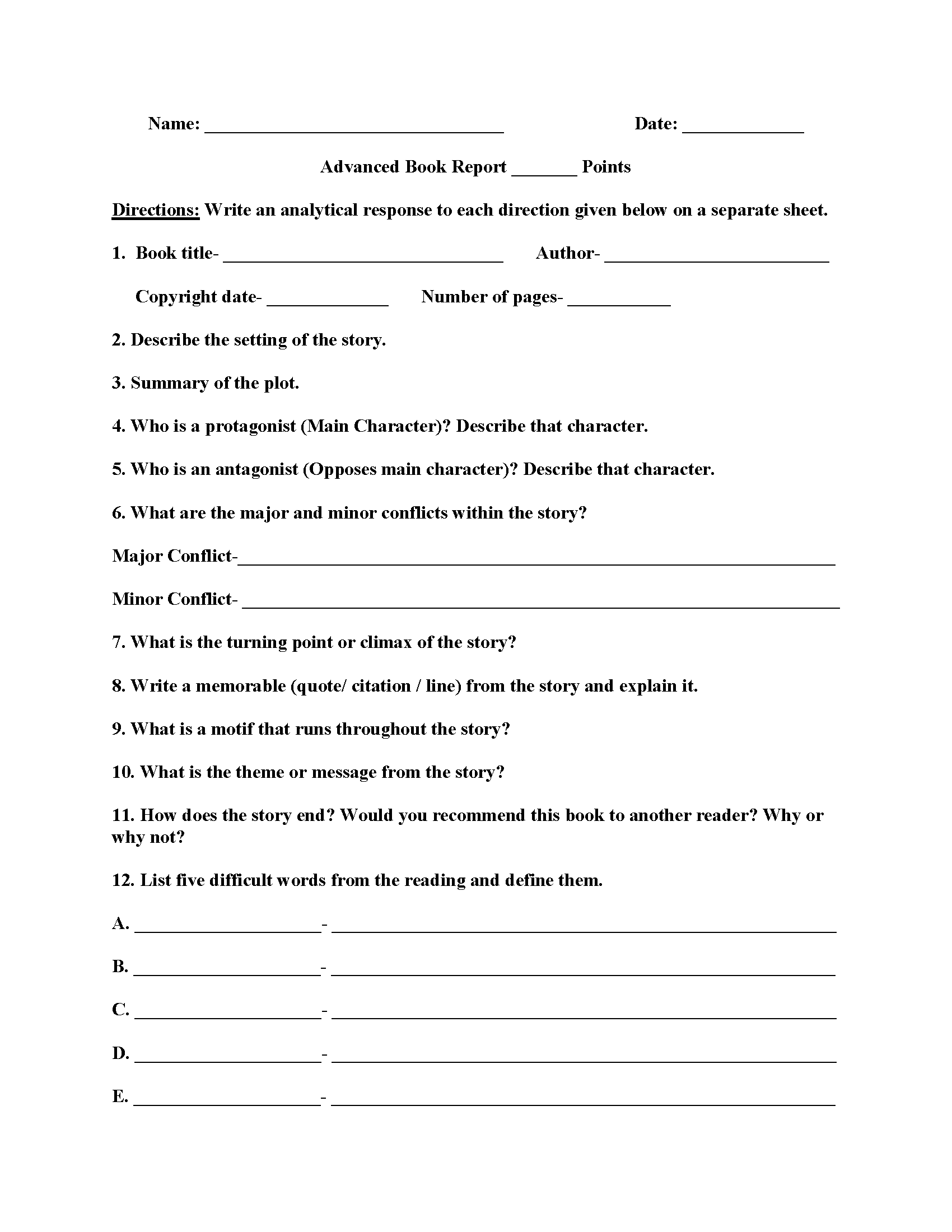 worksheets for writing a book report Use the following topic outline to write a descriptive, organized book report in paragraph form use supportive, detailed examples from the book give specific page references in parentheses if you quote from the book, but avoid excessive quotation.