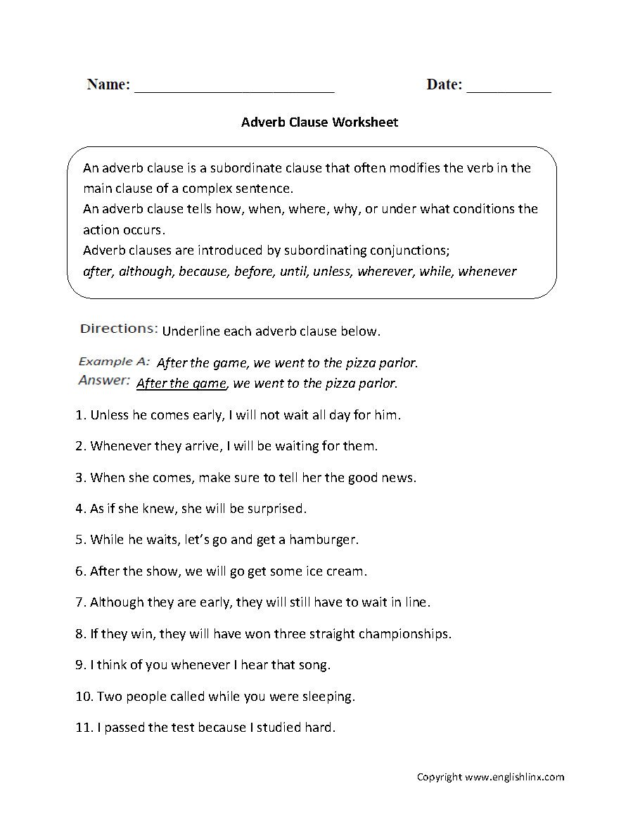 Printables Adverb Clause Worksheet parts of a sentence worksheets clause adverb worksheets