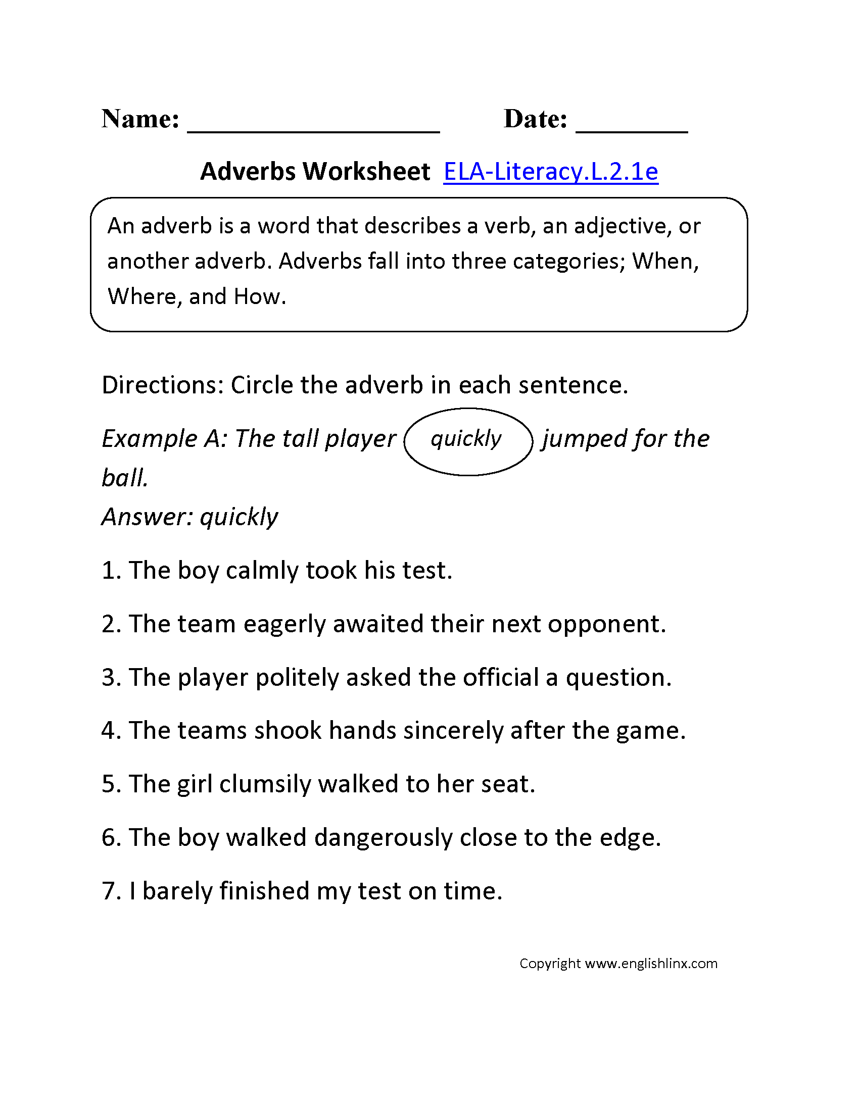 Worksheet Adverbs Grade 2 2nd grade common core language worksheets adverbs worksheet 1 ela literacy l 2 1e worksheet