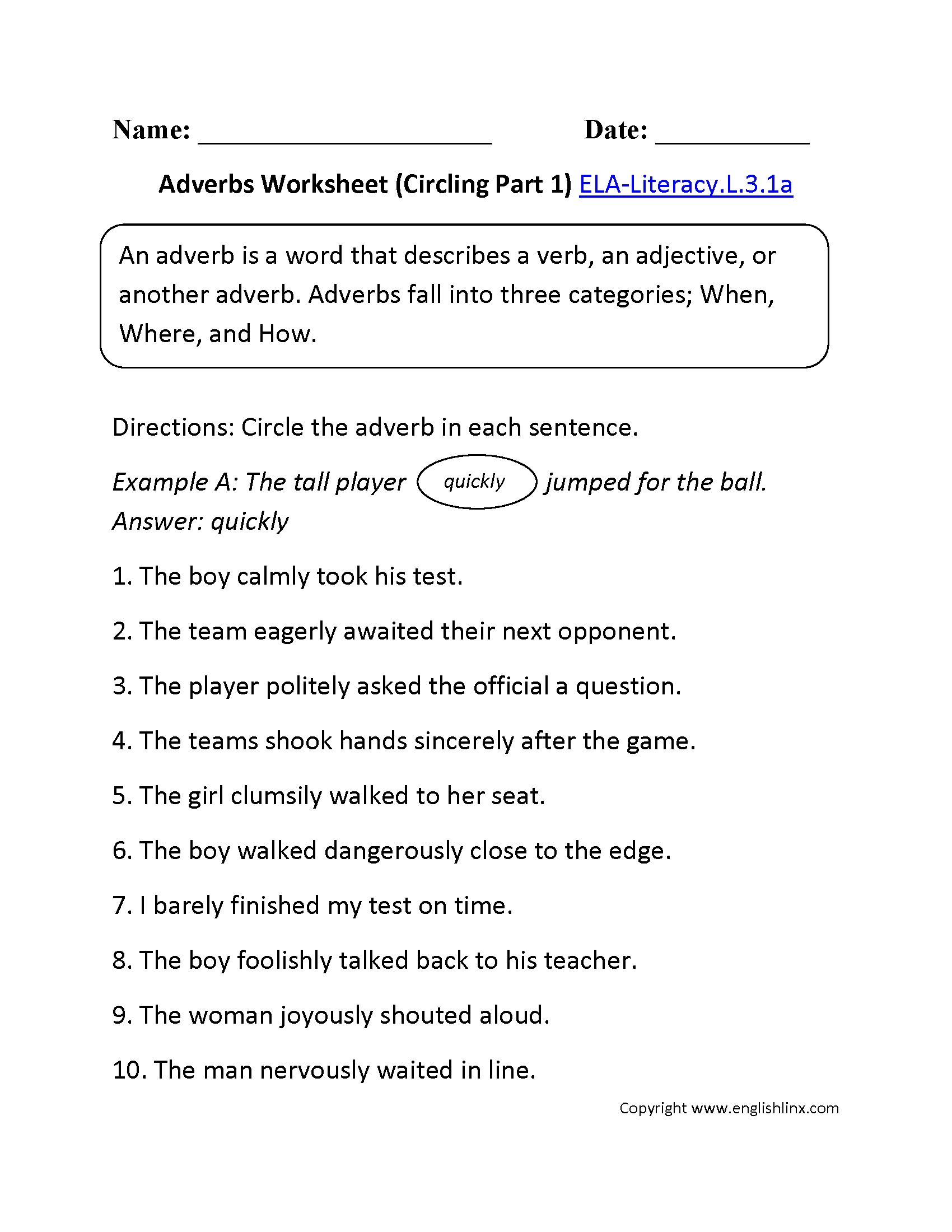 Adverbs Worksheet 1 ELA-Literacy.L.3.1a Language Worksheet