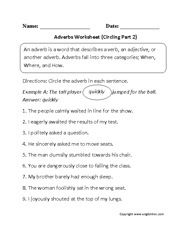 Adverbs Worksheets Regular Adverbs Worksheets