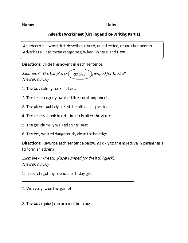5th Grade adverbs worksheets 5th grade : Adverbs Worksheets | Regular Adverbs Worksheets