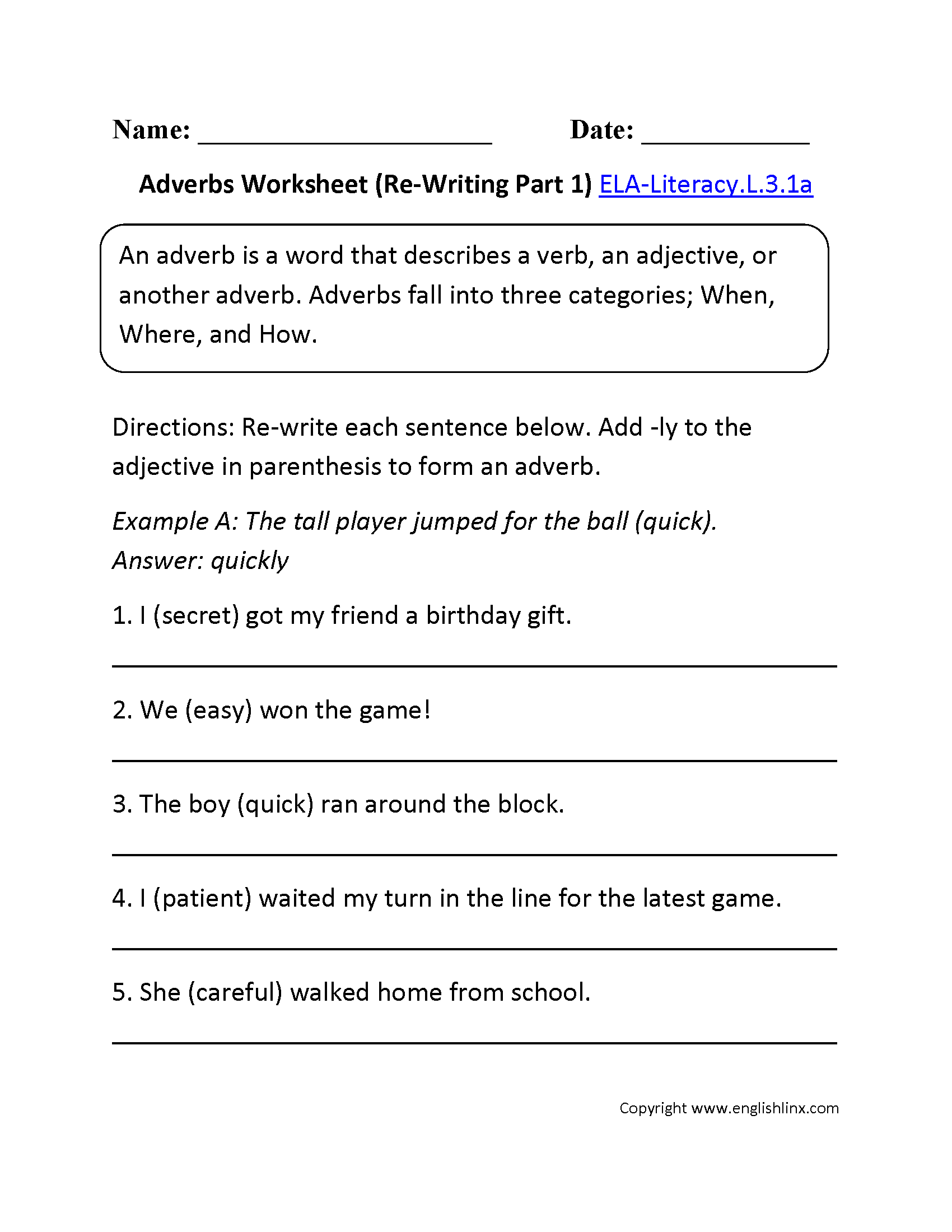 Worksheet Adverbs Grade 3 3rd grade common core language worksheets adjectives worksheet 1 ela literacy l 3 1a worksheet