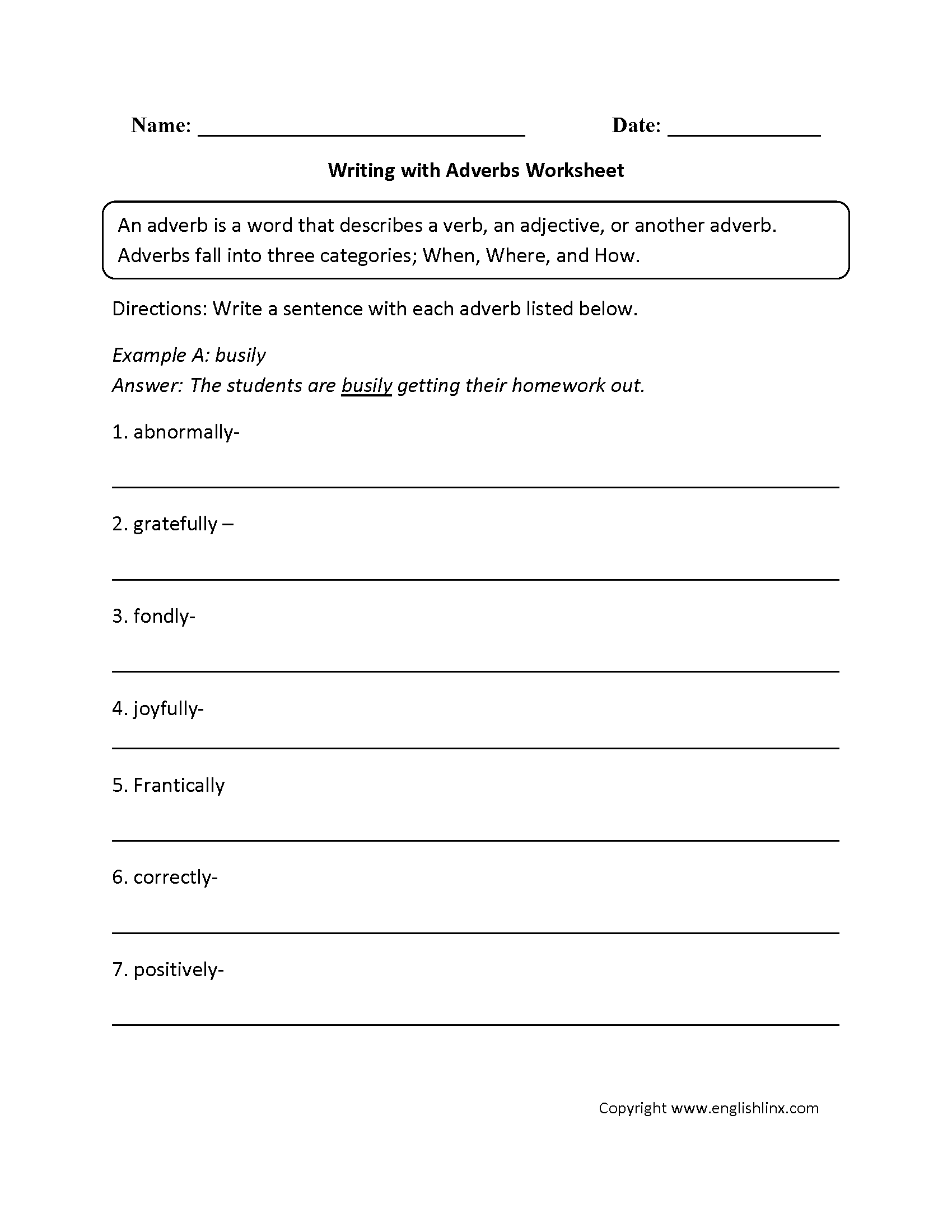 Adverb worksheets year 1