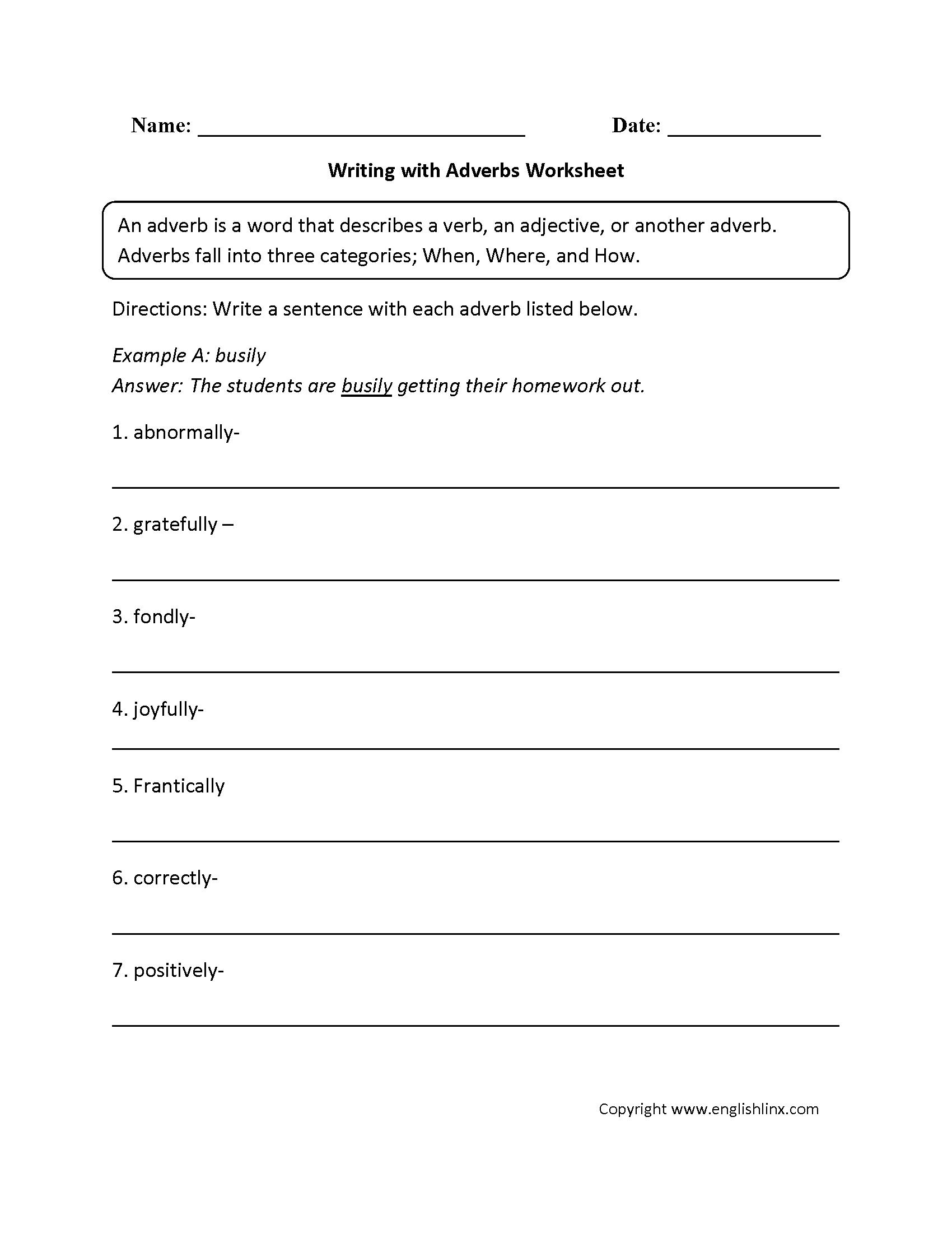 Adverbs Worksheets | Regular Adverbs Worksheets