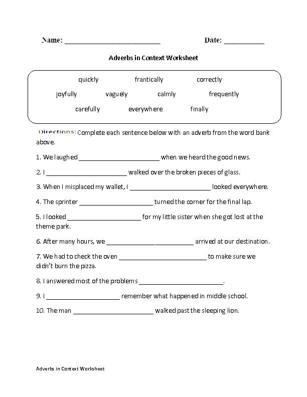 Regular Adverbs Worksheets Adverbs In Context Worksheet