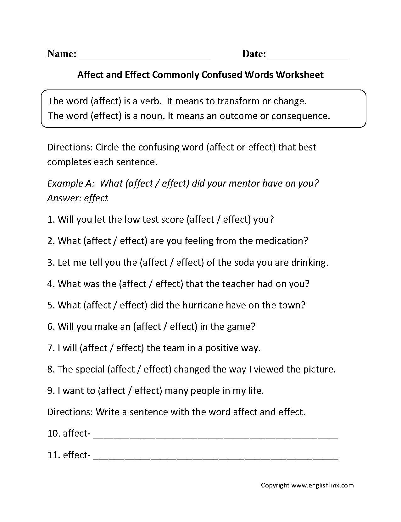 {Commonly Confused Words Worksheets – Affect Effect Worksheet