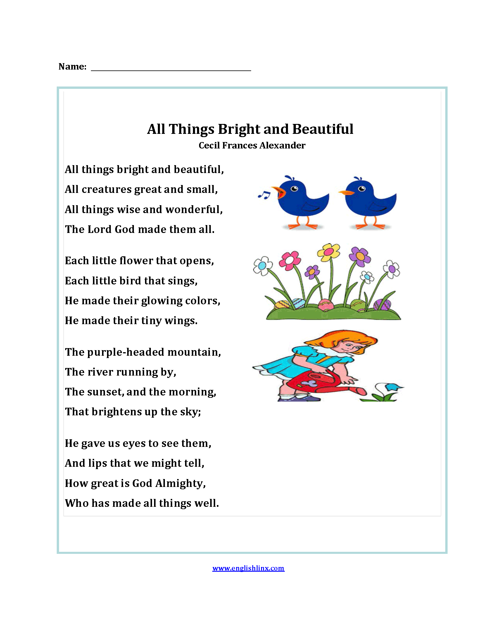Poetry Worksheets : All Things Bright and Beautiful Poetry ...