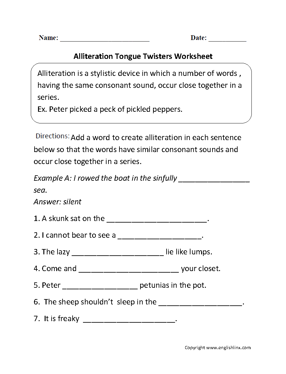 Figurative Language Worksheets | Alliteration Worksheets
