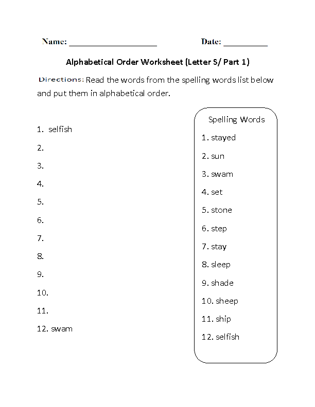 Alphabet Worksheets – Abc Order Worksheet