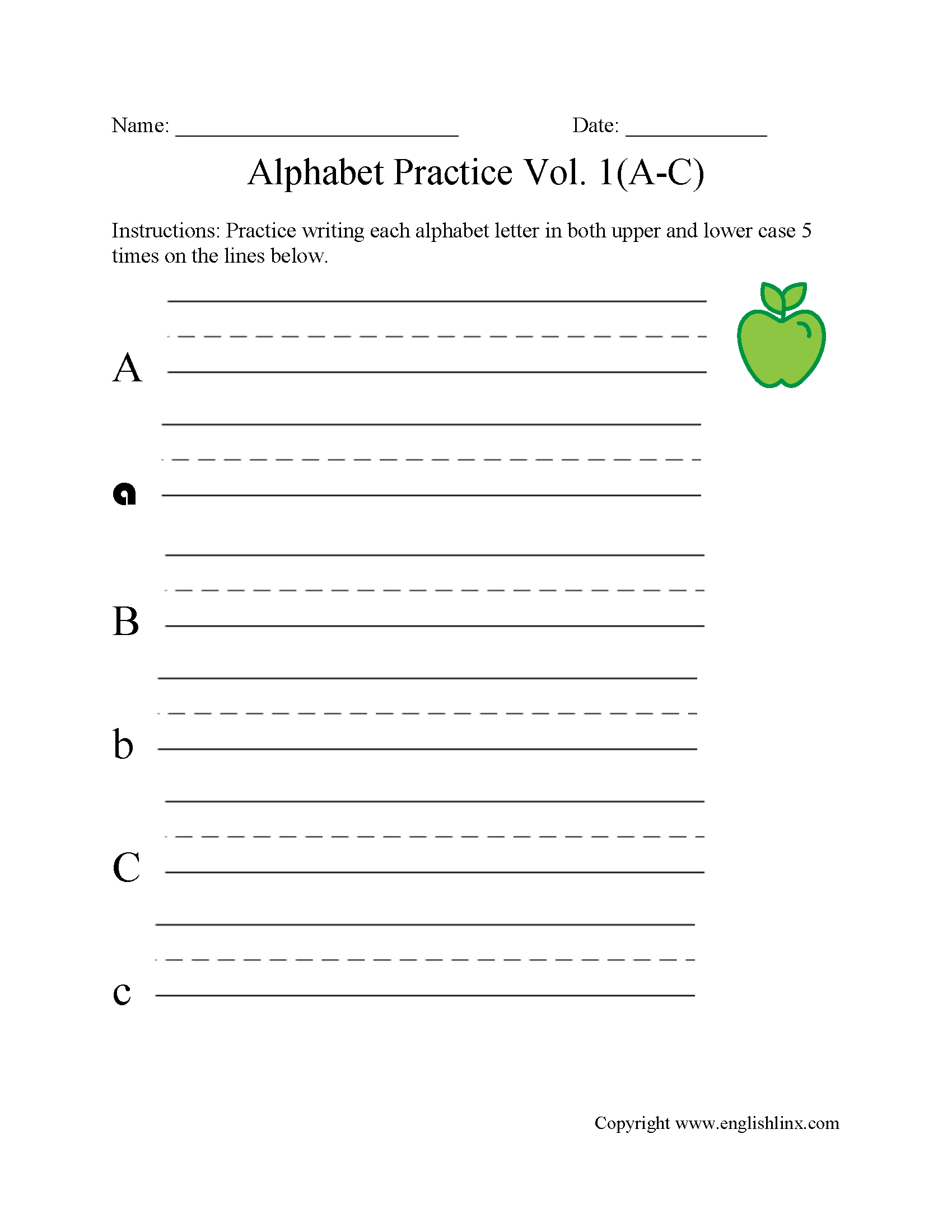 Alphabet Worksheets Writing The Alphabet Worksheets