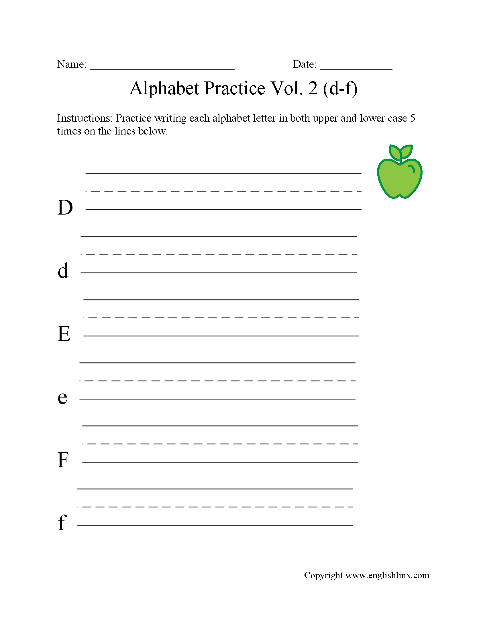 D to F Writing Alphabet Worksheet