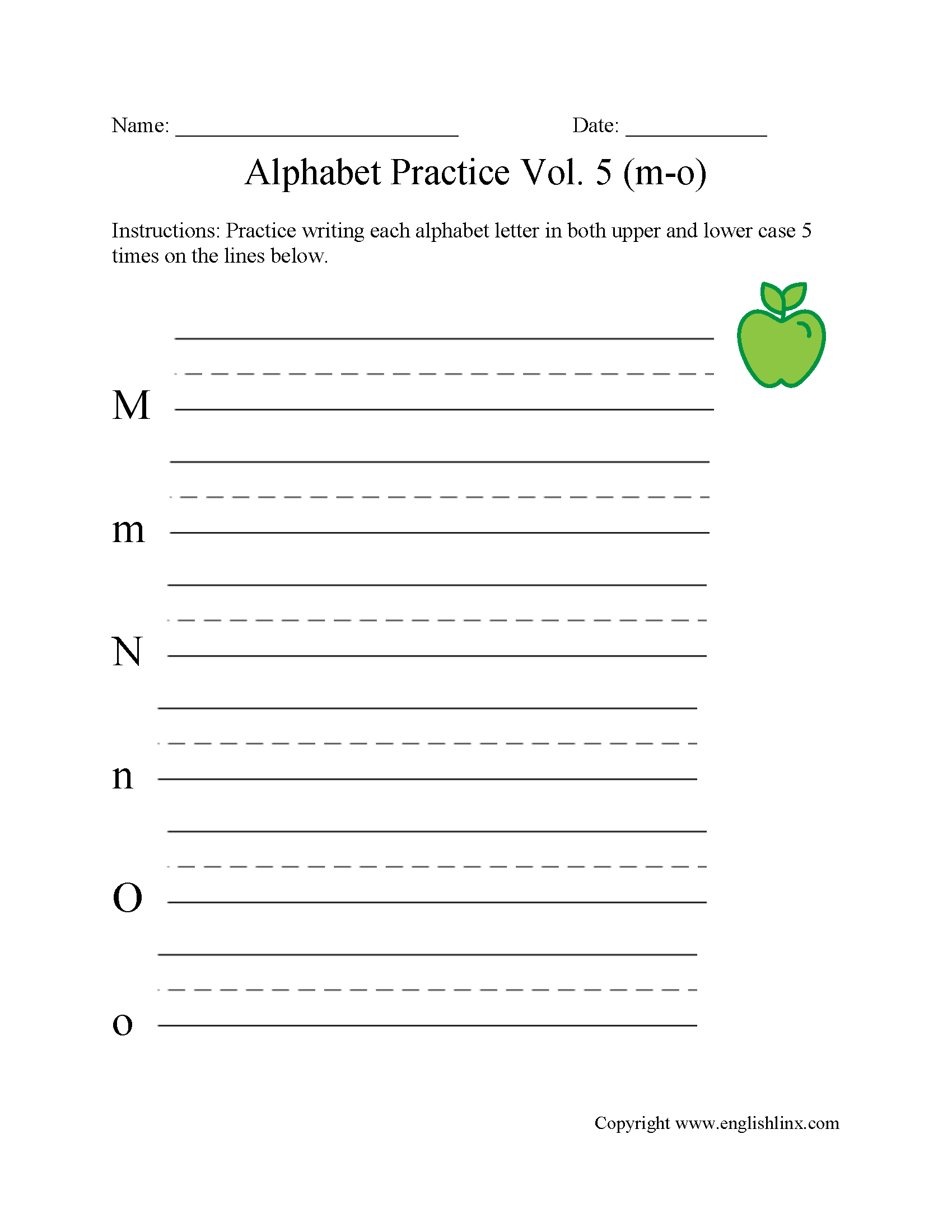 M to O Writing Alphabet Worksheet
