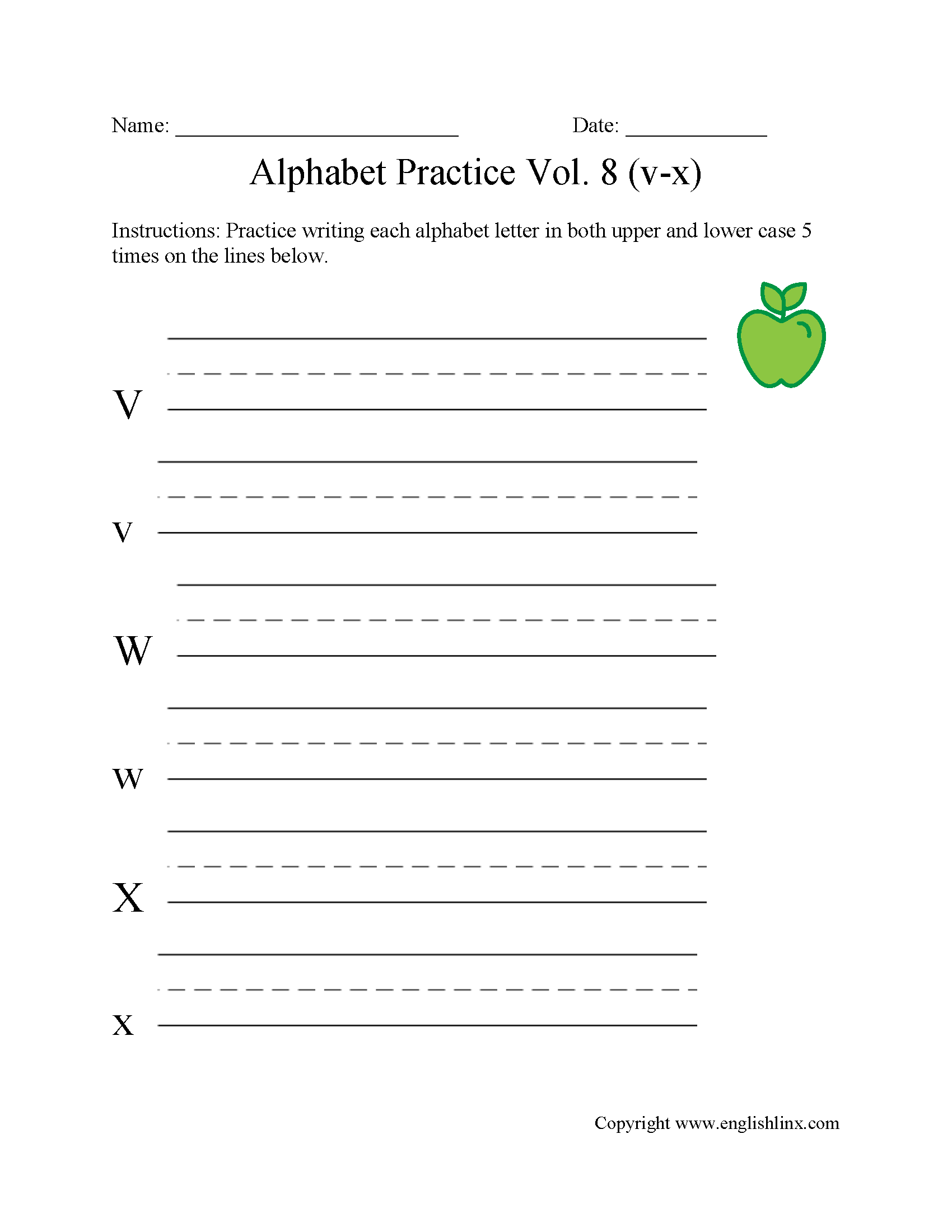 V to X Writing Alphabet Worksheet