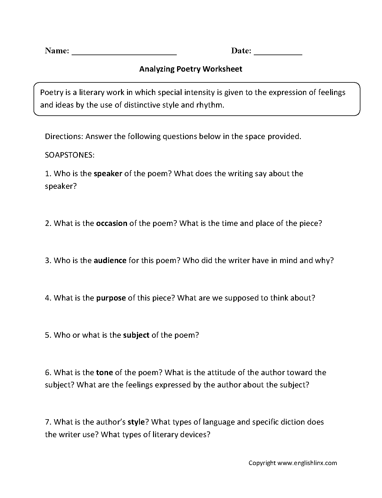 Printables Analyzing A Poem Worksheet poetry worksheets analyzing worksheets