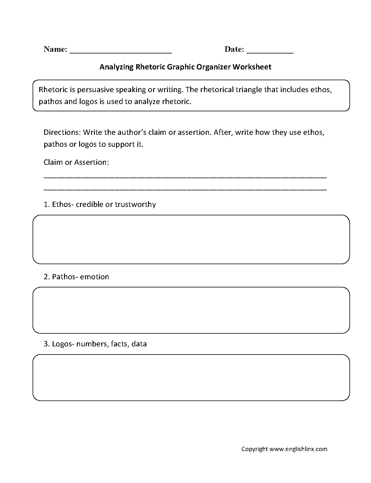 Worksheets Ethos Logos Pathos Worksheet graphic organizers worksheets rhetoric worksheets