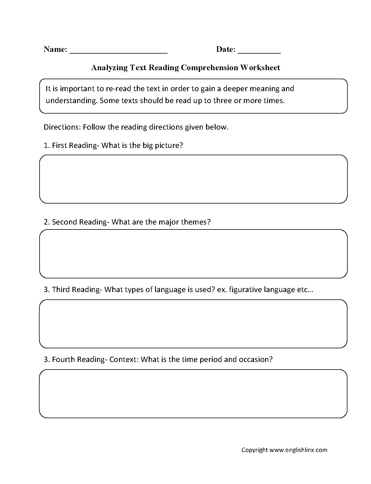 Englishlinx.com | Reading Comprehension Worksheets