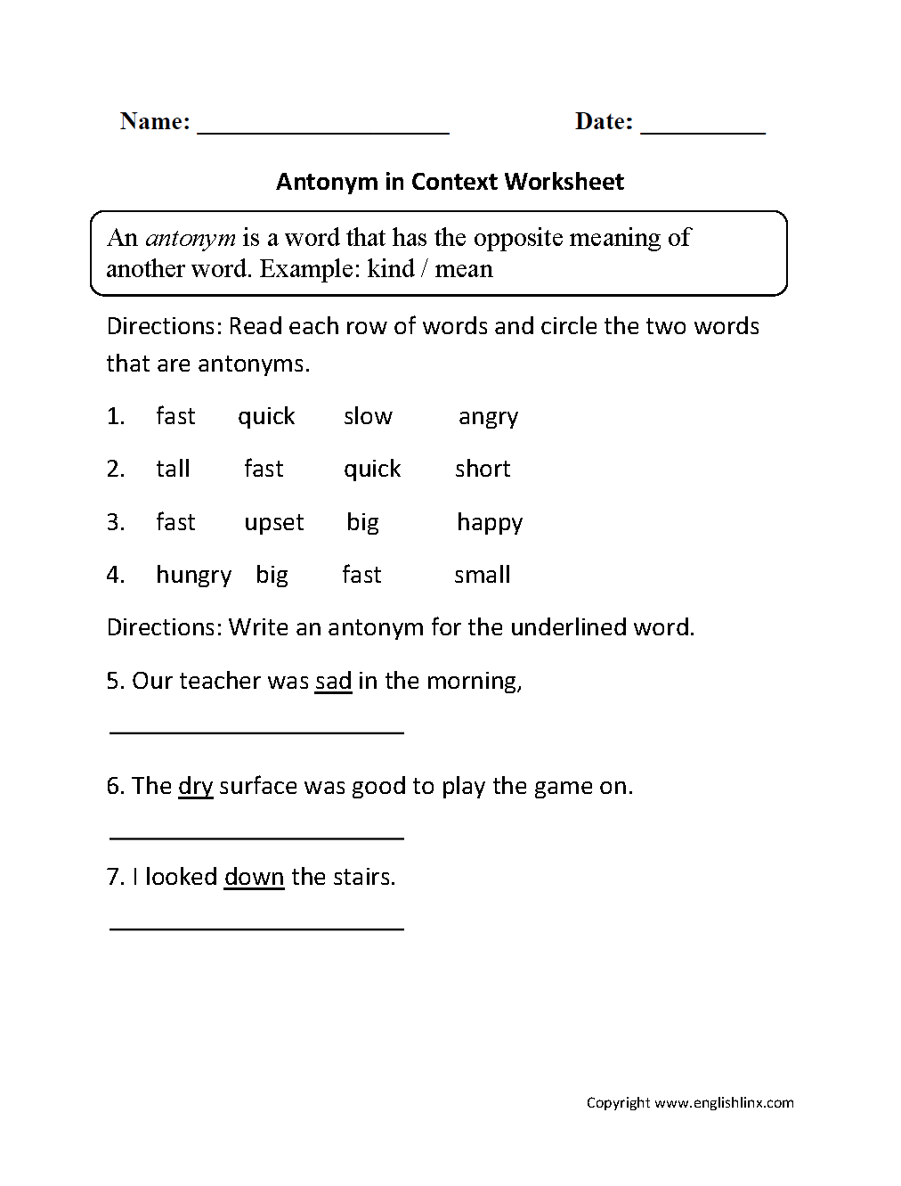 Vocabulary Worksheets – Synonym and Antonym Worksheet