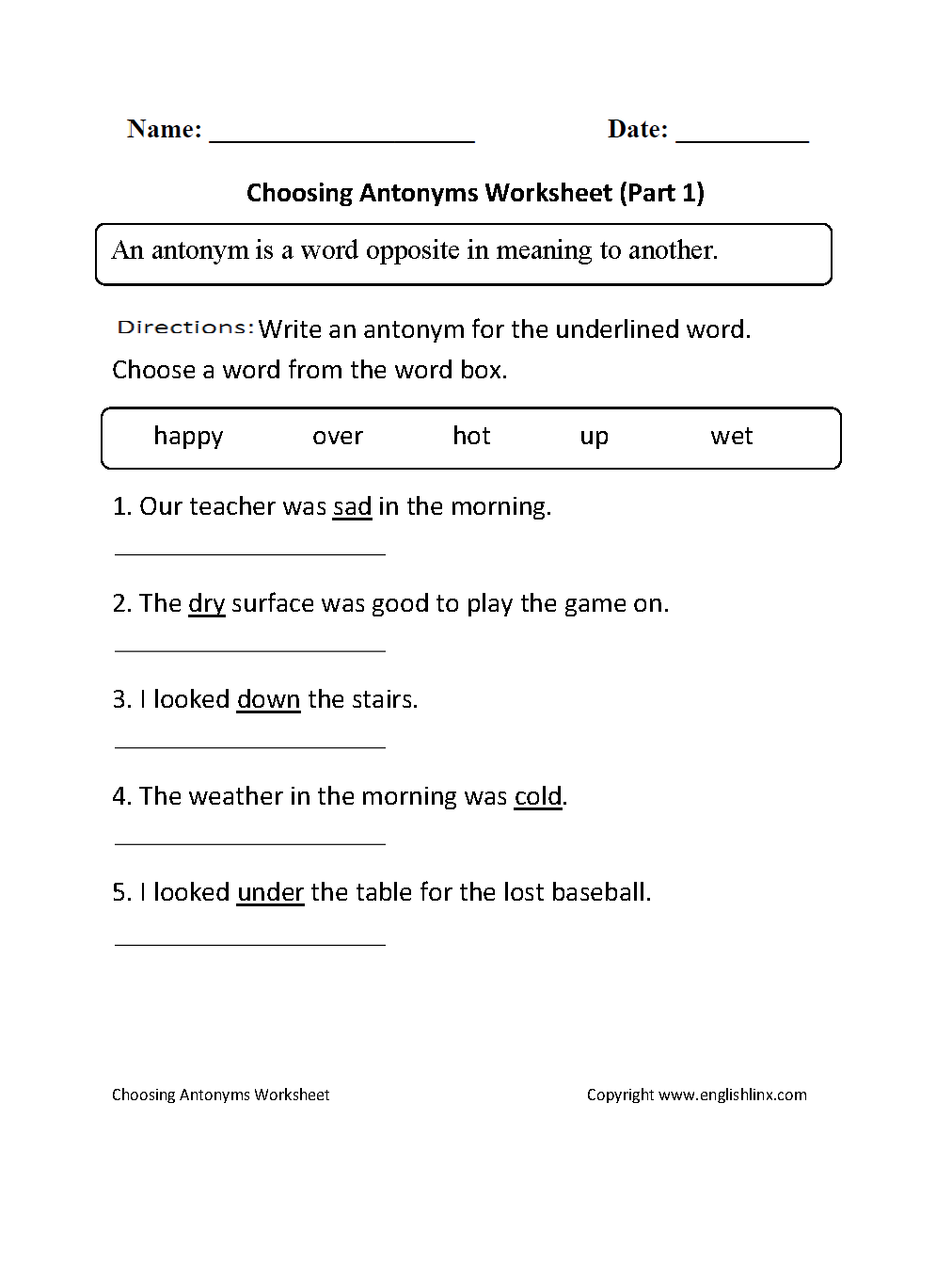 Choosing Antonyms Worksheets Part 1