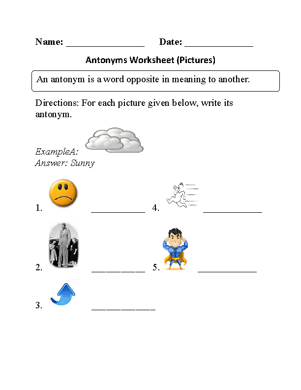 Antonyms Pictures Worksheet