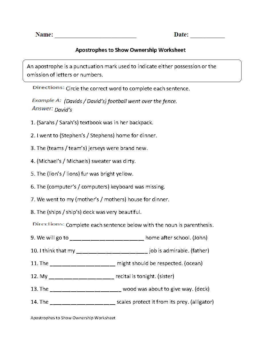 Apostrophe to Show Ownership Worksheet