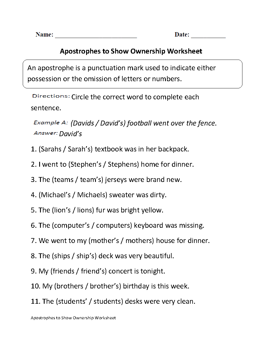Apostrophes to Show Ownership Worksheet