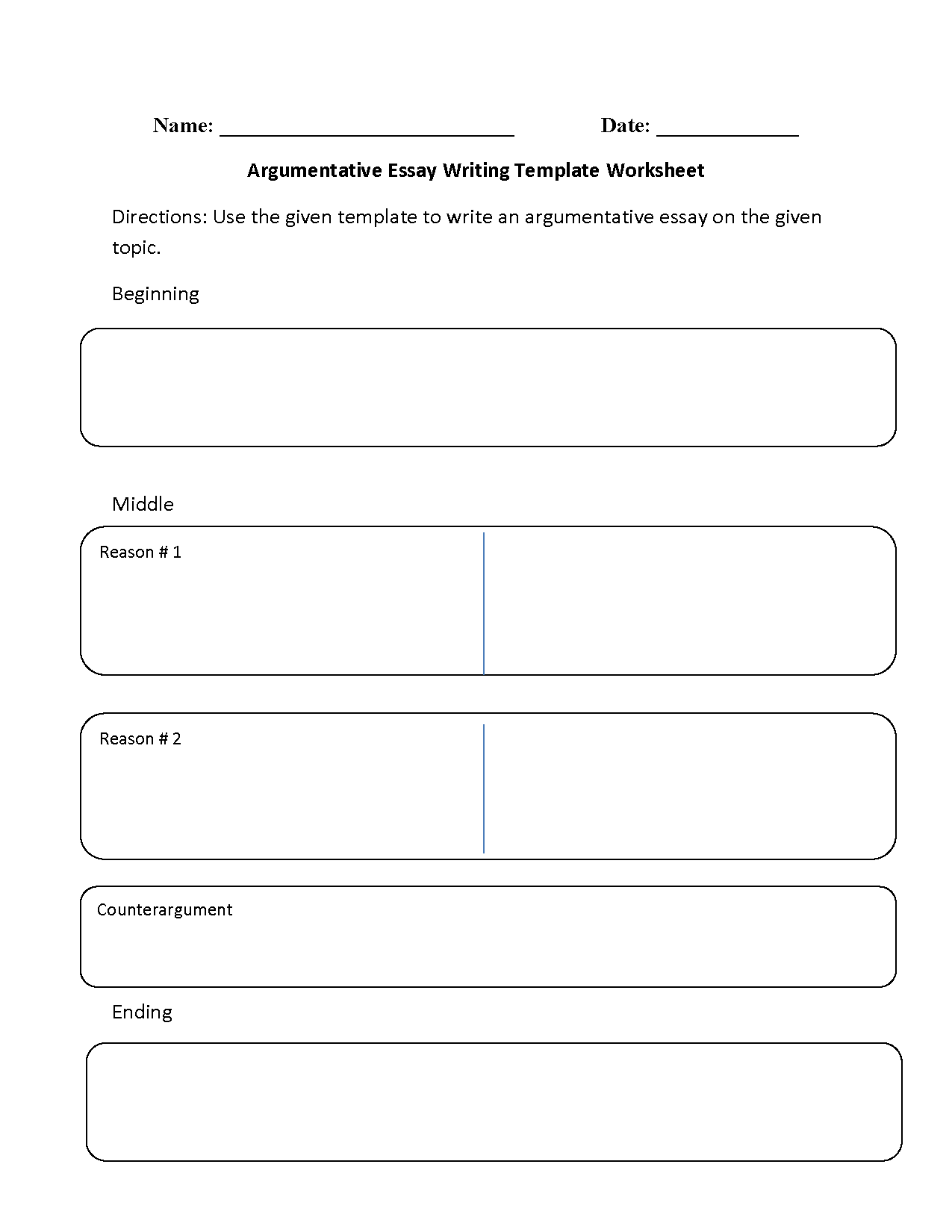 argumentative essay writing template worksheet - Example Of Argumentative Essays