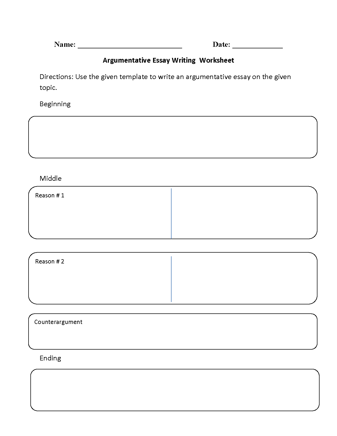 Writing Worksheets – Essay Structure Worksheet
