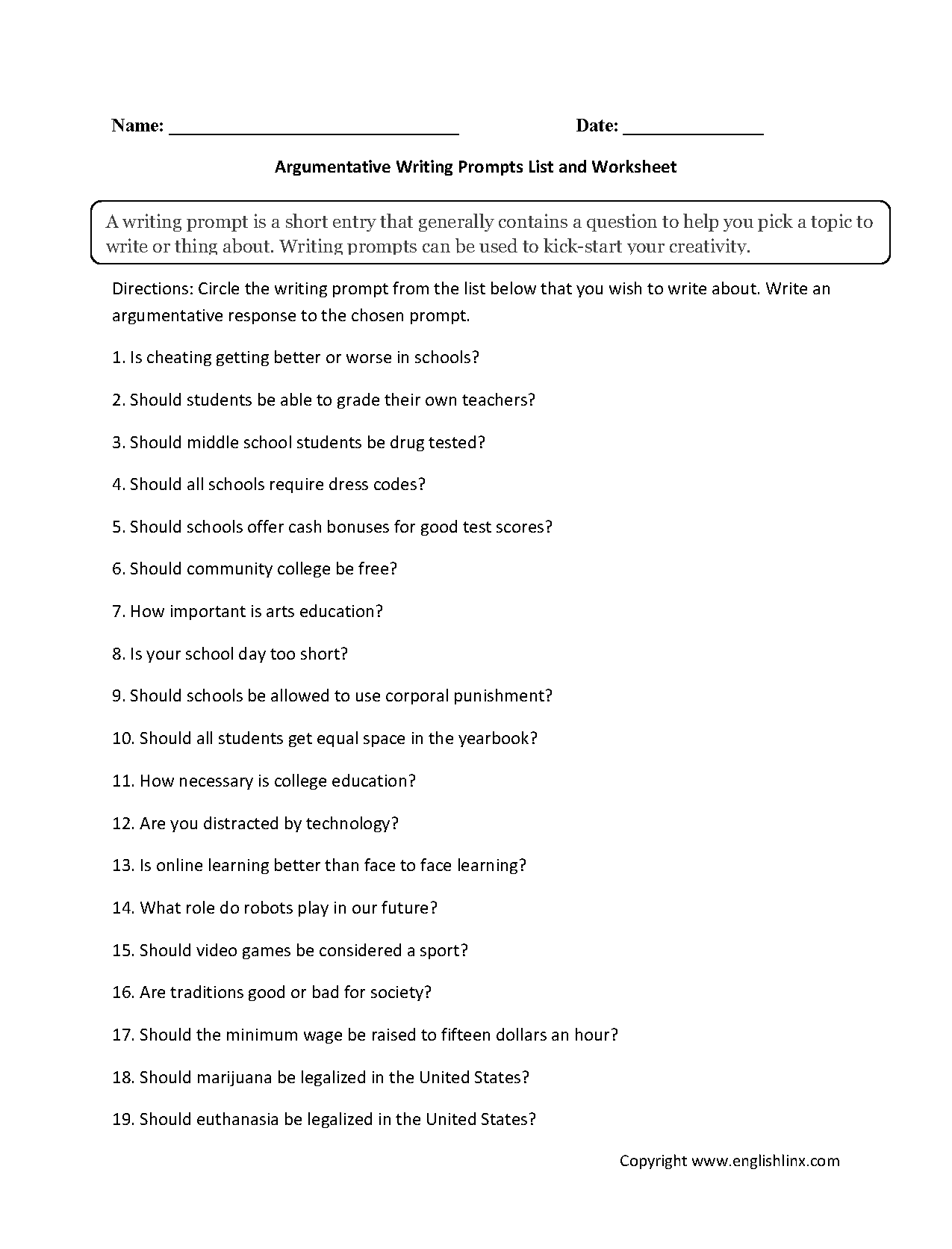 Worksheets 7th Grade Writing Worksheets writing prompts worksheets argumentative list worksheets