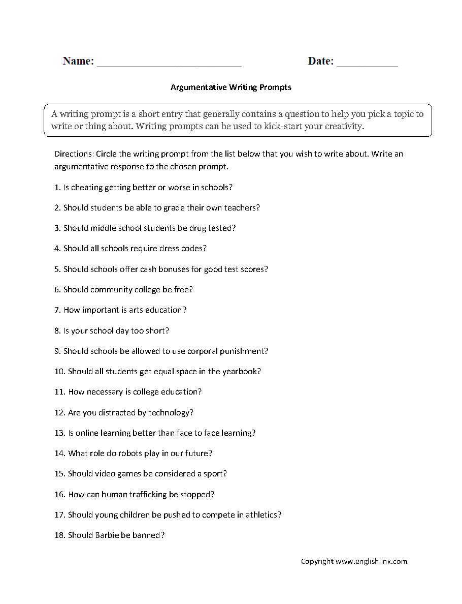 Worksheets 3rd Grade Writing Prompts Worksheets writing prompts worksheets argumentative prompt worksheet