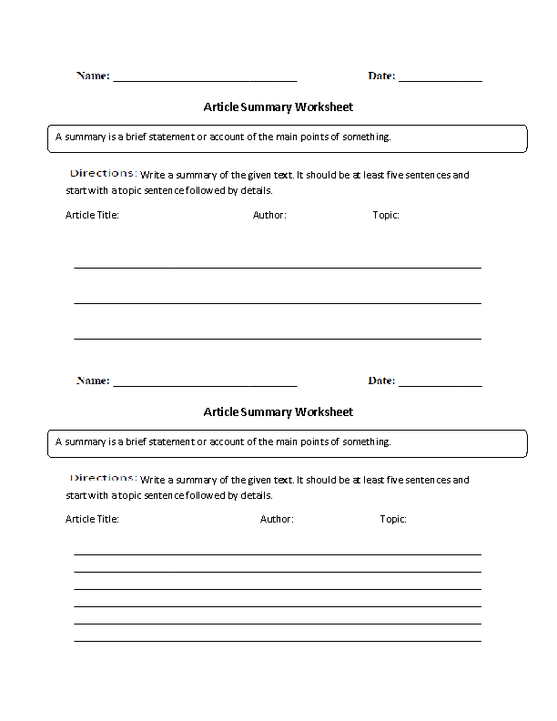 Printables Summarizing Worksheets For 4th Grade englishlinx com summary worksheets article worksheet