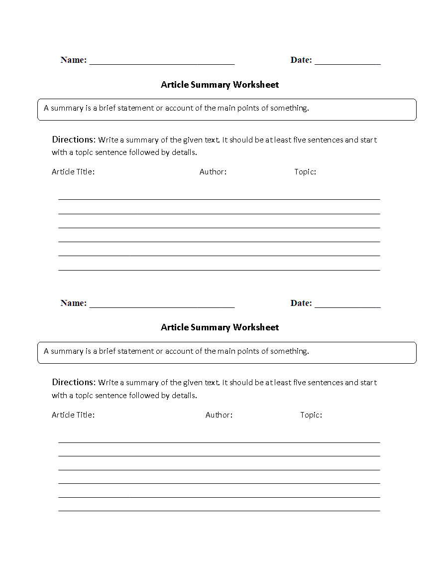 Printables Article Summary Worksheet reading worksheets summary article worksheets
