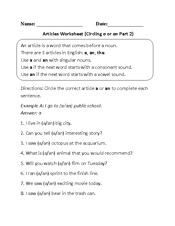A or An Articles Worksheet Part 2